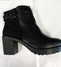 LADIES CHUNKY BLACK FAUX LEATHER ANKLE BOOTS SIZE 3-7  £14.99 FREE P&P