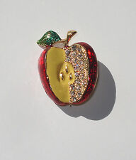 Brooch Pin Polished Gold Tone Red Apple Crystal Rhinestones Enameled