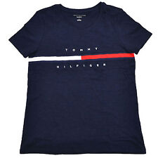 Tommy Hilfiger Womens T-shirt Big Logo Relaxed Fit Short Sleeve Crew Neck New