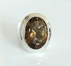 Beautiful Chunky Sterling Silver & 10.50ct Smoky Quartz Solitaire Ring UK K