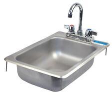 "Bk Resources Drop In Stainless Steel Hand Sink 10"" x 14"" x 5"" w/ Drain"