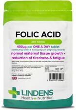 Folic Acid 400mcg - healthy pregnancy vitamins - (240 tablets) [Lindens 0984]
