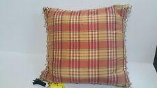 Red and Light Gold Plaid Pillow Decorative Throw Toss Pillow