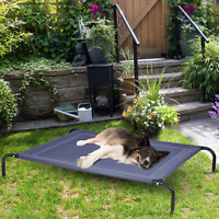 Large Dog Bed Elevated Outdoor Raised Pet Cot Indoor Durable Steel Frame Blue
