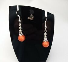 Pretty Burnt Orange Silver Tone Miracle Bead Ladies Pierced Dangle Earrings