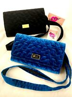 Luv Betsey Johnson Convertible Wallet Clutch Or Crossbody Quilted Velvet Star