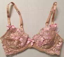 L'AGENT by AGENT PROVOCATEUR GIANNA Lace Mesh Pink Bra Underwire 32C NWT New