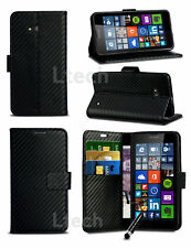 Apple iPhone 7 (4.7 inch) - Carbon Fibre Style Wallet PU Leather Case & Mini Pen