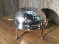 Antique Victorian Silverplate Domed Roll Top Footed Server Rotating Flip Top L10