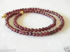 "Genuine Red Garnet Stone 4mm Necklace 4 mm Red Beads 16"" Length Natural Stone"