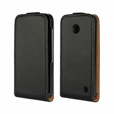Black Genuine Real Leather Classic Slim Flip Case Cover for Nokia Lumia 630/635