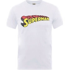 DC Comics Superman Telescopic Crackle Logo Large Mens White T-shirt Official