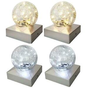 Waterproof Solar Post Cap Lights Outdoor Crackle Glass Ball Lights Fence Patio