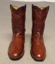Vintage Justin Western Cowboy Ostrich Skin / Leather boots men's size 9D Usa