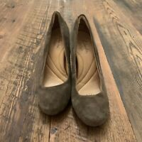 Indigo by Clarks Brown Leather Suede Pumps Women's Sz 5 M Round Toe Chunky Heel
