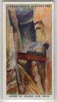 Andalusian Railways  Bridge Over Gorge Malaga Spain c80 Y/O Trade Ad Card