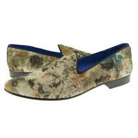 Fertini 2929 Velvet Loafer, Men's Slip-on Smoking Shoes, Natural