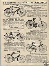 1924 PAPER AD Adlake Bicycle Bike Camel Back Road Racer Model