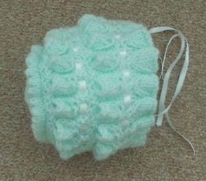 hand knitted baby girls bonnet 0/3 months mint
