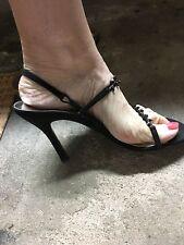 Stuart Weitzman Nudist Beaded Black sexy evening shoe. Size 7.5