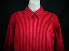 Eddie Bauer Burgundy red stripe long sleeve wrinkle resistant shirt women's XL