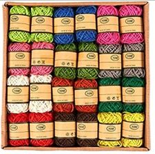 Juvo Plus- Jute Twine Rolls- 24 Rolls, 12 Colors, 10 Meters Per Roll
