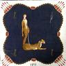 "Erte handkerchief Neckscarf Blue Lady & Leopard Vintage Thin Cotton19.5*20"""