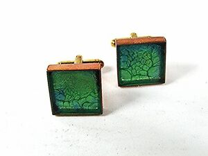 Vintage Goldtone Copper Blue Green Glass Cufflinks 81316