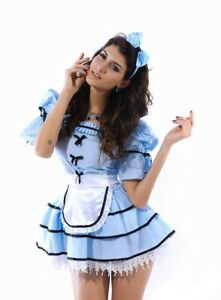 Ladies Alice In Wonderland Fairy Tale Sexy Fancy Dress Costume Outfit UK 12-14