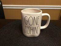 NEW VHTF - Rae Dunn GONE FISHIN' Mug New Release 2020