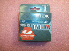 (3 BOXES of 3) DVD-RW14AL3 TDK 30 MINUTE 1.4GB CAMCORDER RE-RECORDABLE DVD-RW