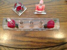 50s Amazing Lucite Red Rose Pink Rose Vanity Lipstick Ring Holder Mid Century