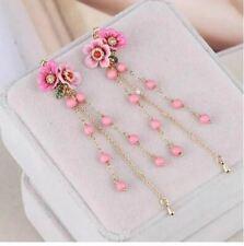 Les Nereides Flower Winter Garden Series 14K Gold Plated Chain Bead Earrings