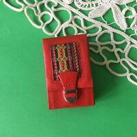 Vintage Red Leather Fabric Folk Decoration Cigarette Case Ex Yugoslavia 1970's