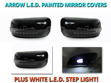 USA 95-99 W140 S Class Arrow LED Side Painted Black Mirror Cover+LED Step Light