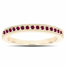 Ruby Wedding Band 14K Yellow Gold Half Eternity Anniversary Ring Handmade 0.16ct