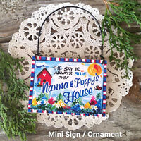 DECO Mini Sign Nanna Poppy Wood Ornament Grandparents Gift Decorative Greetings