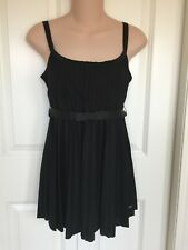 Tommy Hilfiger M black empire cut tank blouse top bow-belt flowy scoop-neck