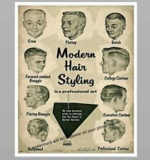 11x14 Barber Shop Poster PHOTO Sign Vintage Modern Hair Cut Styling Chart