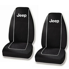 New Jeep Black 2 Front Car Truck SUV Van Bucket Seat Cover White Lettering JEEP