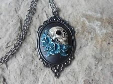 SKULL AND ROSES (HAND PAINTED) CAMEO DARK SILVER NECKLACE - GOTH, UNIQUE, TEAL