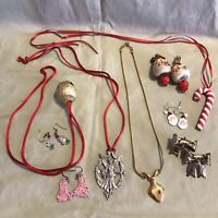 Christmas Lot of Holiday Vintage Jewelry Earrings Pins Necklaces Ornament 9
