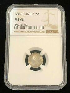 INDIA 2 Annas 1862 C, NGC MS 63 Choice UNC, Superb Queen Victoria Silver Example