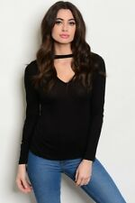 NEW! PAPERMOON Sexy BLACK Keyhole V-NECK Top ~ Junior's SMALL / Bust to 30""