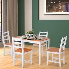 HOMCOM Wooden Dining Table with 4 chairs Home Furniture White and Honey