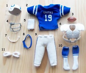 "1970 1988 JOE NAMATH UNITAS 12"" kenner mego figure  FOOTBALL JERSEY PANTS HELMET"