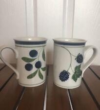 """Set of Dansk BERRIES BLUEBERRY Mugs 4-1/4"""""""