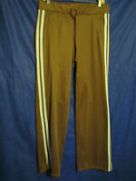 JUICY COUTURE Brown TRACK PANTS Lt.Blue Stripes SPORTS/LOUNGE/YOGA Poly Knit S