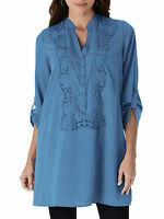 Ladies Plus Size Rose Lace Tunic By Denim 24/7 Sizes 16-24