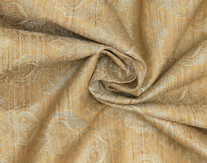 Camel & Gold Jacquard Brocade Silk Fabric Craft Sewing Wedding Dress By The Yard